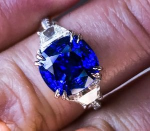 Large sapphire and diamond cocktail ring