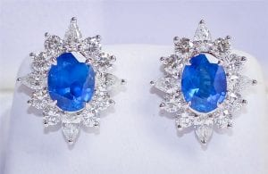 Oval sapphire and diamond halo earrings