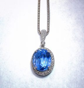 Pale Blue Sri Lankan Sapphire set in a Necklace
