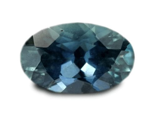 Oval sapphire with a greenish hue
