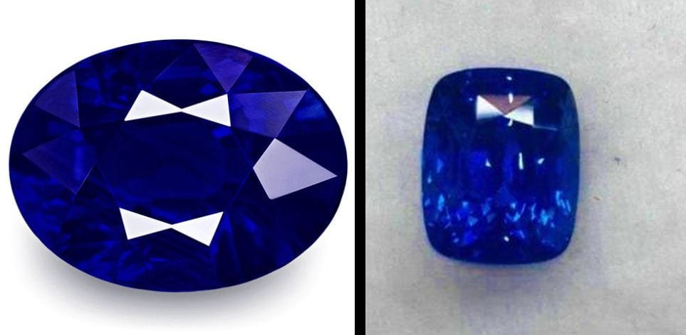 Two examples of saturated cornflower blue sapphires