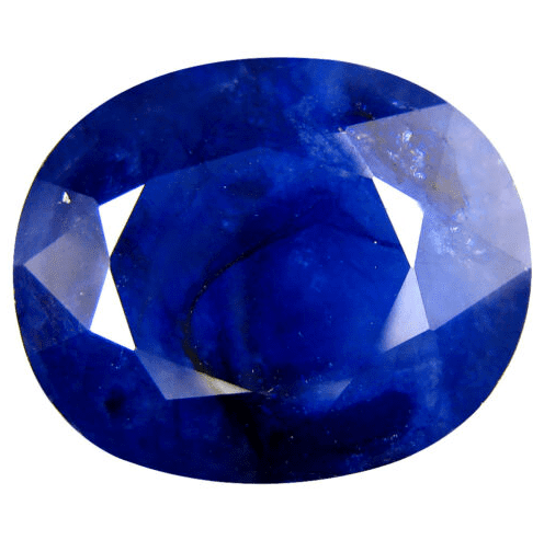 Bright blue sapphire with lots of inclusions