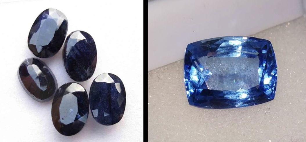very dark blue colored sapphires compared to a light blue colored sapphire