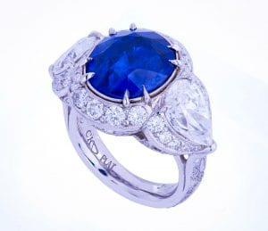 Platinum diamond and sapphire cocktail ring