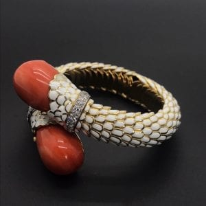 David Webb Coral and Diamond Bracelet