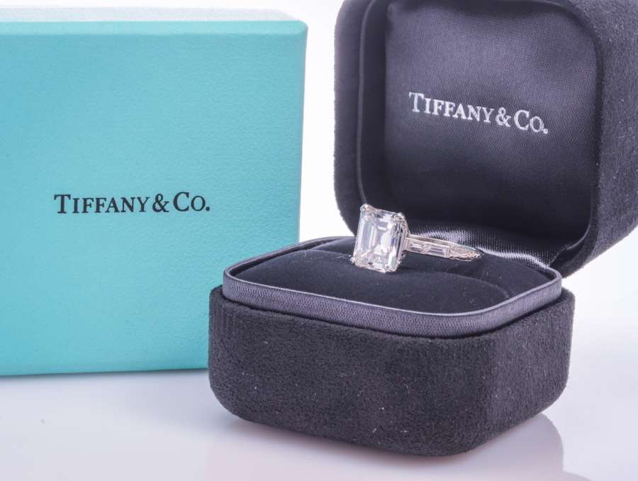 Emerald cut Tiffany diamond engagement ring