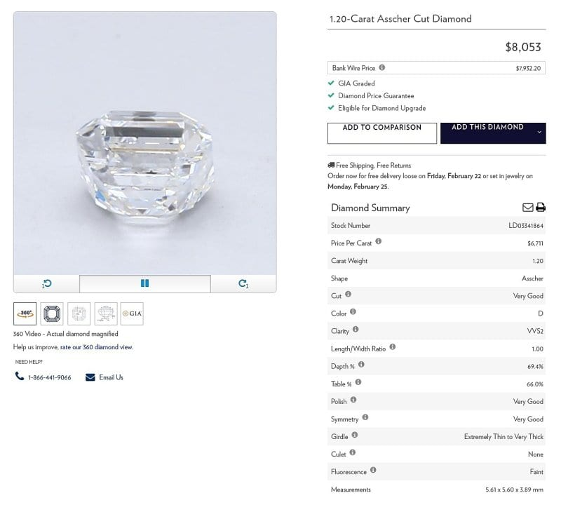 Blue Nile Diamond Summary Example