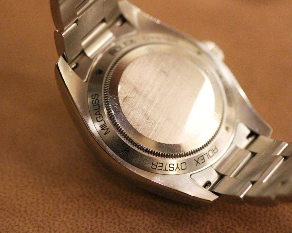 Back of Rolex watch details