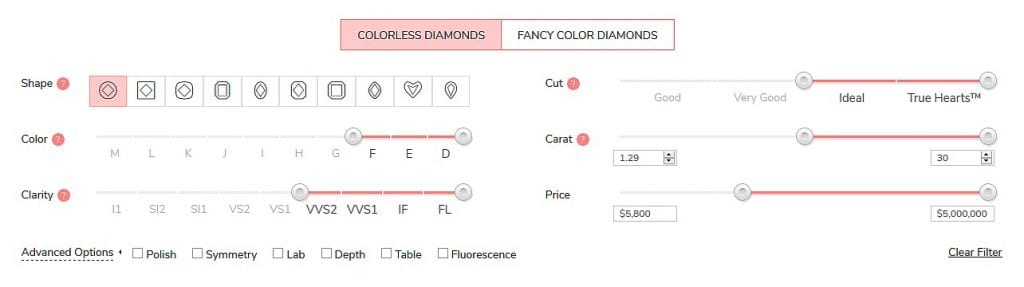 James Allen Diamond Price Calculator