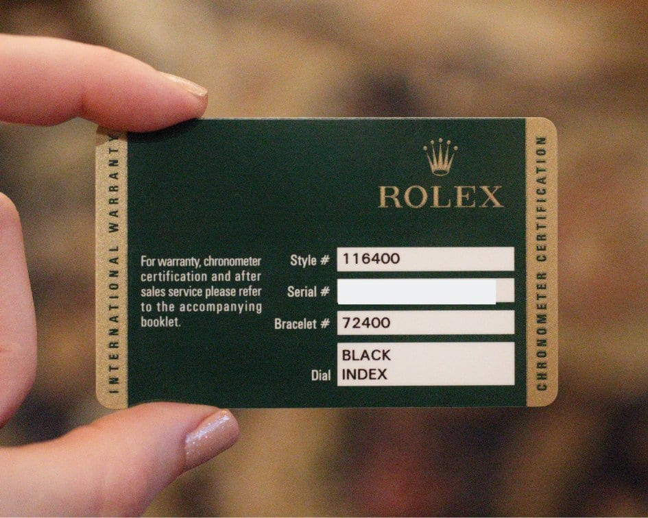 Front of Rolex warranty card