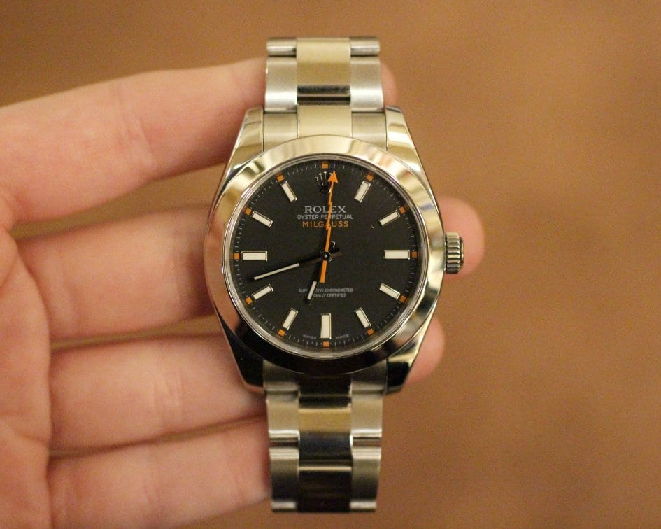 Photo of Rolex Milgauss watch face