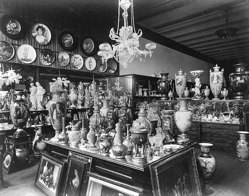 Antique photo of Tiffany's storage room
