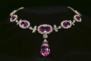 Diamond and pink tourmaline necklace designed by Paulding Farnham.
