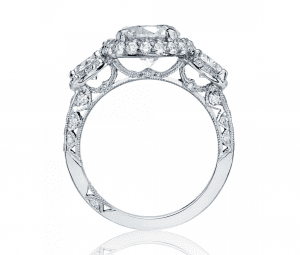 Side view details of a Tacori Diamond Engagement Ring
