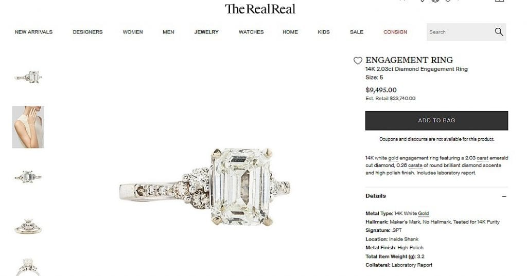 The Real Real Diamond Ring Listing Example