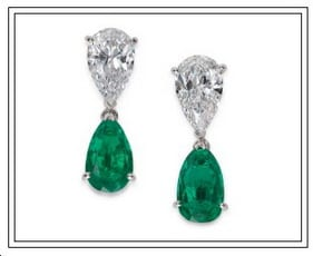 VCA Diamond and Emerald Pear Shaped Dangle Earrings