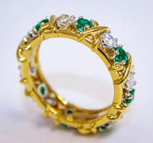 18k Gold Diamond and Emerald Tiffany Band Ring by Jean Schlumberger
