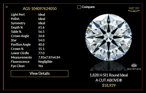 details and specifications for one round brilliant diamond example