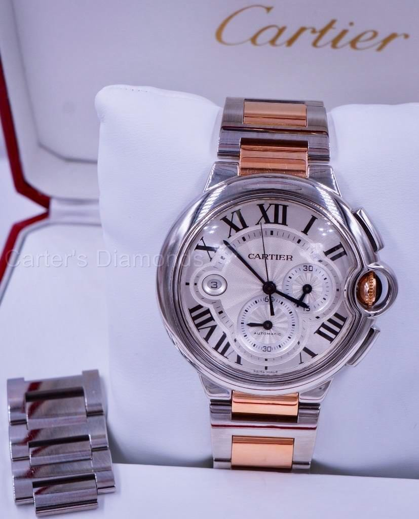 Stainless Steel and Rose Gold Cartier Ballon Blue Watch
