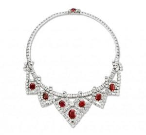Cartier Art Deco Diamond and Ruby Necklace